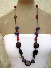 """33"""" Purple  Red Amber style Large Chunky Bead  Necklace Fairtrade Hippy Boho"""