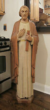 HUGE vintage hand carved solid wood life size saint Joseph Jesus icon sculpture