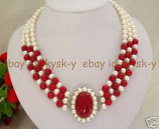 Natural noblest 3 row white freshwater pearl red coral clasp necklace  17-19""