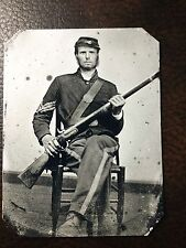 Civil War Military Soldier With Rifle & Beard TinType C255SP