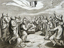 GRAVURE 18e s. Ascension de Jésus-Christ BIBLE Sacy MERIAN 1770