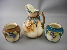 Rare 3pc Set of James Hadley&Sons Worcester Cream Pitcher & Vases Hand Painted