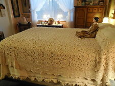 "Antique Vintage Hand Crocheted Cotton Bed Coverlet Floweretts 72x85"" Full Ecru"