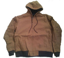 MENS WORK JACKET HOODED Insulated Waterproof Brown Cotton Duck Size XL