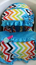 rainbow/blue infant car seat cover canopy cover blanket fit most infant car seat