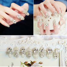 24PCS Rhinestone Decoration Nail Art Tips Jewelry Bow 3D Hollow Glitter Alloy