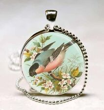 Vintage bird cabochon Glass Necklace Pendant Ball Chain Necklace B^010