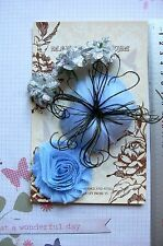 BLUE & SILVER Flower Feather Facinator 5 Flower Pk 35-80mm Manor House