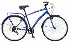 mens hybrid comfort blue road bike bicycle 700c schwinn