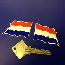 DUTCH Flag Wavy 2in classic racing car stickers Holland
