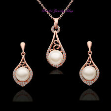 18K Rose Gold Plated Faux Pearl SWAROVSKI Crystal Necklace Earrings Set08