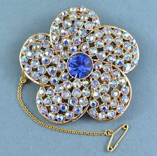Vintage Brooch Large 1950s Blue Aurora Borealis Crystal Flower Bridal Jewellery