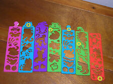 Lot of 7 Plastic Various Animal Shapes Stencil Bookmarks Birthday Party Favors –