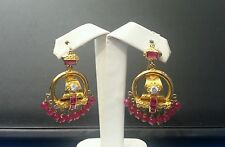 Gold Ear Ring Ruby beads Solid 22k
