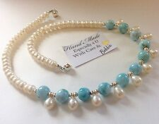 Amazing handcrafted AAA Larimar Freshwater Pearl Necklace 18 inch 925 silver
