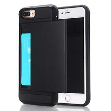 Shockproof Slim Hybrid Card Wallet Hard Back Case +Tempered Glass Film For Apple