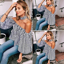 Women Sexy Off The Shoulder Casual Loose Long Sleeve T-Shirt Tops Blouse M