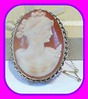 LARGE HEAVY 13+G 9CT GOLD GENUINE VINTAGE SHELL CAMEO ENGLISH BROOCH FULL UK HM