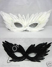 8pcs Black &White Carnival MardiGras COSTUME Masquerade Real Feather Masks