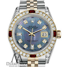 Women's Rolex Steel & Gold 31mm Datejust Watch Tahitian MOP Dial Ruby & Diamond