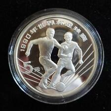 1990 SILVER PROOF CHINA 5 YUAN COIN  FOOTBALL WORLD CUP ITALY 1990