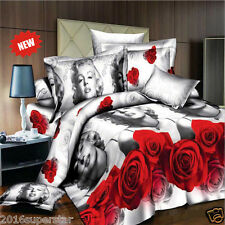 3D Printing Marilyn Monroe Queen+4pcs Vivid Rose Floral Bedding Set 200*230 New@