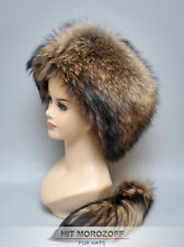 Davy Crockett RACCOON Fur Hat detachable tail Schapka Pelzmütze Fellmütze Mütze