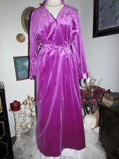 Beautiful vtg Anne Leslie Royal PURPLE Velveteen Plush Wrap Soft Long Robe Small
