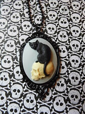 #JR708NC BLACK CAT Cameo Necklace SKULL MORBID Black Enamel Heart GOTHIC WICCA