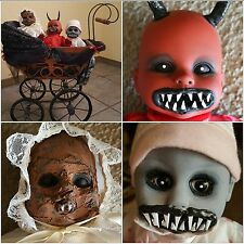 Mummified, Devil & Zombie Baby in Antique Baby Doll Carriage Halloween Props