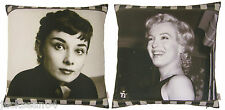 "2 X FILM MOVIE STARS MARILYN MONROE & AUDREY HEPBURN CUSHION COVERS 17"" - 43CM"