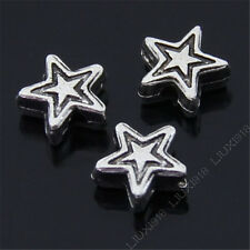50x Retro Tibetan Silver Five-pointed Star Spacer Beads Findings Wholesale N129P