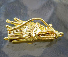 Gold plated Dragon Head Pinch On and Off with Bar style clasp, (P01G)