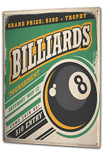 Tin Sign XXL Retro Billiard ball metal plate plaque