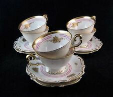 Vintage Hutschenreuther Selb Tea Cups & Saucers (6 sets) Pink & Gold Footed