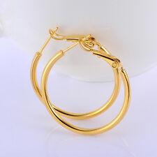 Womens Lucky yellow Gold Filled Big Hoop Earrings Circle Jewelry 29*2mm