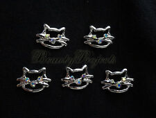 5pcs nail art crystal 3D kitty cat face rhinestone charms acrylic nails gel A96