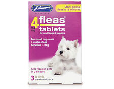 JOHNSONS 4 FLEAS TABLETS FOR SMALL  DOGS  3 TREATMENT PACK KILL FLEA IN 24 HOURS