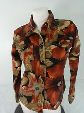 VILLAREAL WOMENS BROWN FLORAL CORDUROY JACKET SIZE XS
