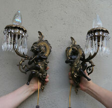 PAIR Blackamoor musical Shabby Spelter Brass sconces French lamp Vintage Antique