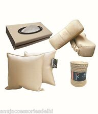 Car Vastra Designer Car Neck Rest,Cushion Rest,Steering Cover,Tissue Combo-Beige