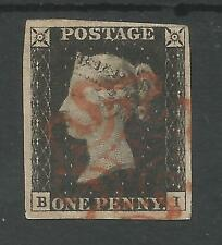 1840 PENNY  BLACK  (BI) 4 GOOD  MARGINS  CANCELLED BY RED CROSS,SEE SCANS