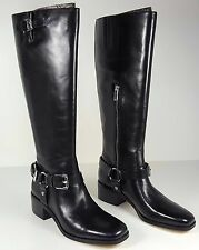 $395 size 7 Michael Kors Harrison Black Leather Knee High Riding Boots Shoes NEW