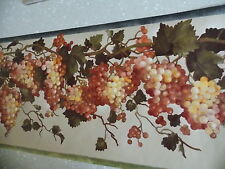 ORANGE YELLOW GRAPES FRUIT GREEN LEAF READY PASTED FINE DECOR WALLPAPER BORDER