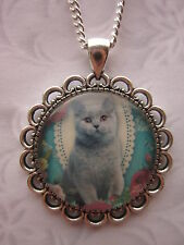 vintage flower cat pet glass cabochon pendant charm necklace silver plated grey