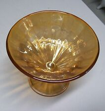 Antique Marigold Paneled Carnival Glass Comport Pedestal Bowl Iridescent 4 1/4""