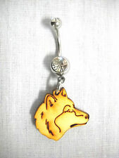 NEW TOTEM WOLF SPIRIT PROFILE WOODEN CHARM ON CLEAR CZ BELLY BAR NAVEL RING