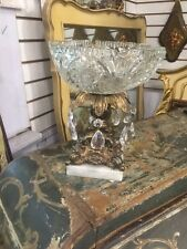 Vintage Cut Monarch Crystal Glass Brass Stand Ashtray Marble Base Italy
