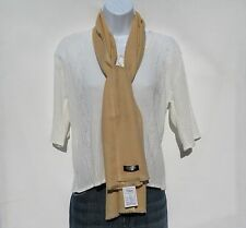 100% Cashmere Scarf Double Ply Hand Loomed in Nepal-Solid Color: Camel