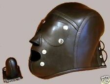 GENUINE LEATHER BONDAGE HOOD with MOUTH GAG & REMOVEABLE BLINDFOLD